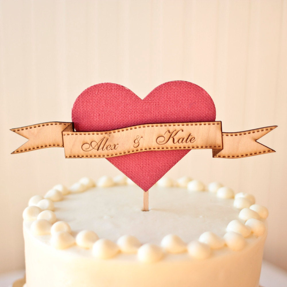 The Woodland Heart Wedding Cake Topper in Party Pink - Birch Wood