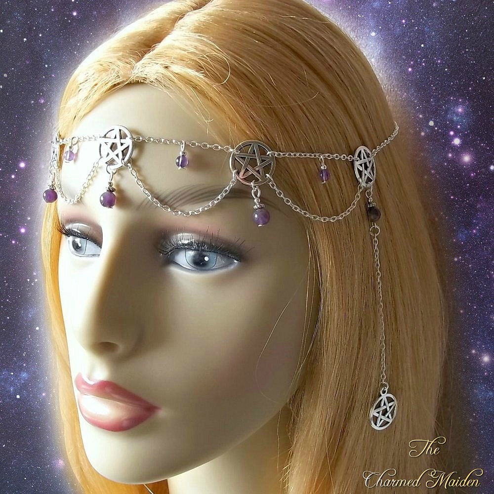 Amethyst Pentagram Circlet Pentacle Headpiece Pagan Head Chain Wiccan Headdress Wicca Accessories Pagan Jewellery Head Jewellery