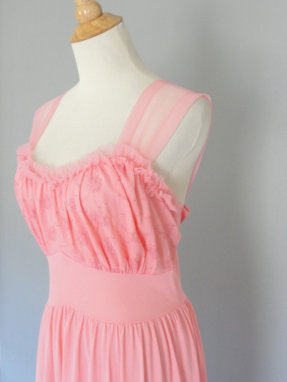 Vintage 1950s Watermelon Pink CHARMODE Nightgown