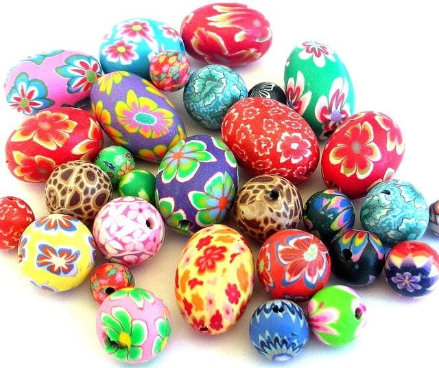 30 Easter egg and roundmulticolor beads, polymer clay mix