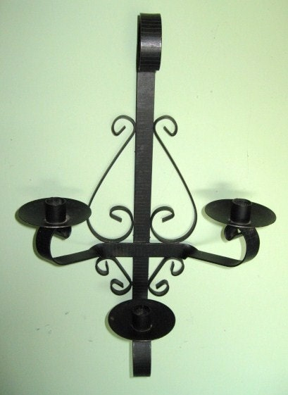 Wall Sconce Candle Holder Wrought Iron : Black Wrought Iron Wall Sconce Candle Holder by TheFrontHouse