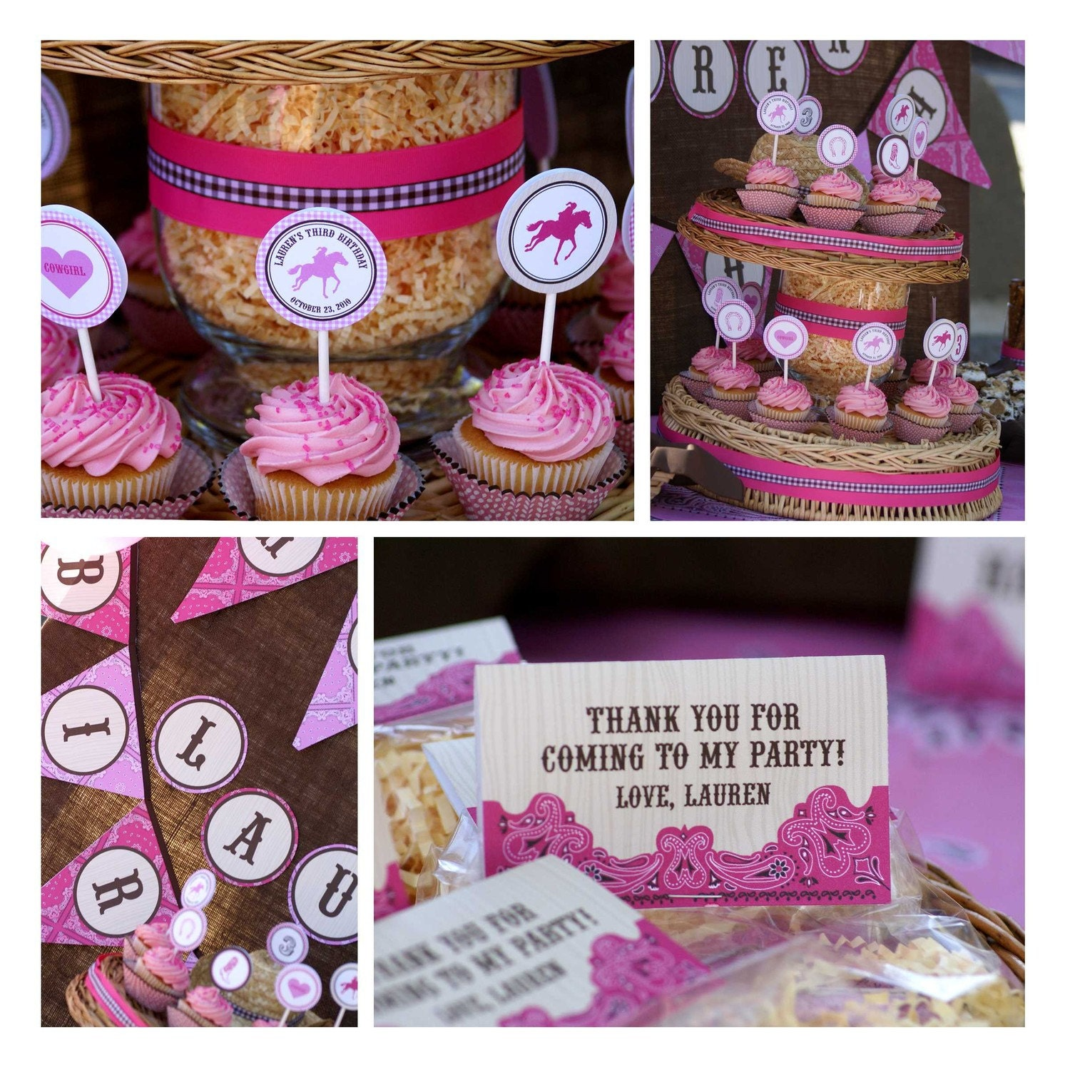 DIY Cowgirl Printable Design Accessories Collection -Personalized with your info - Food labels, cupcake toppers, favor hangtags and more
