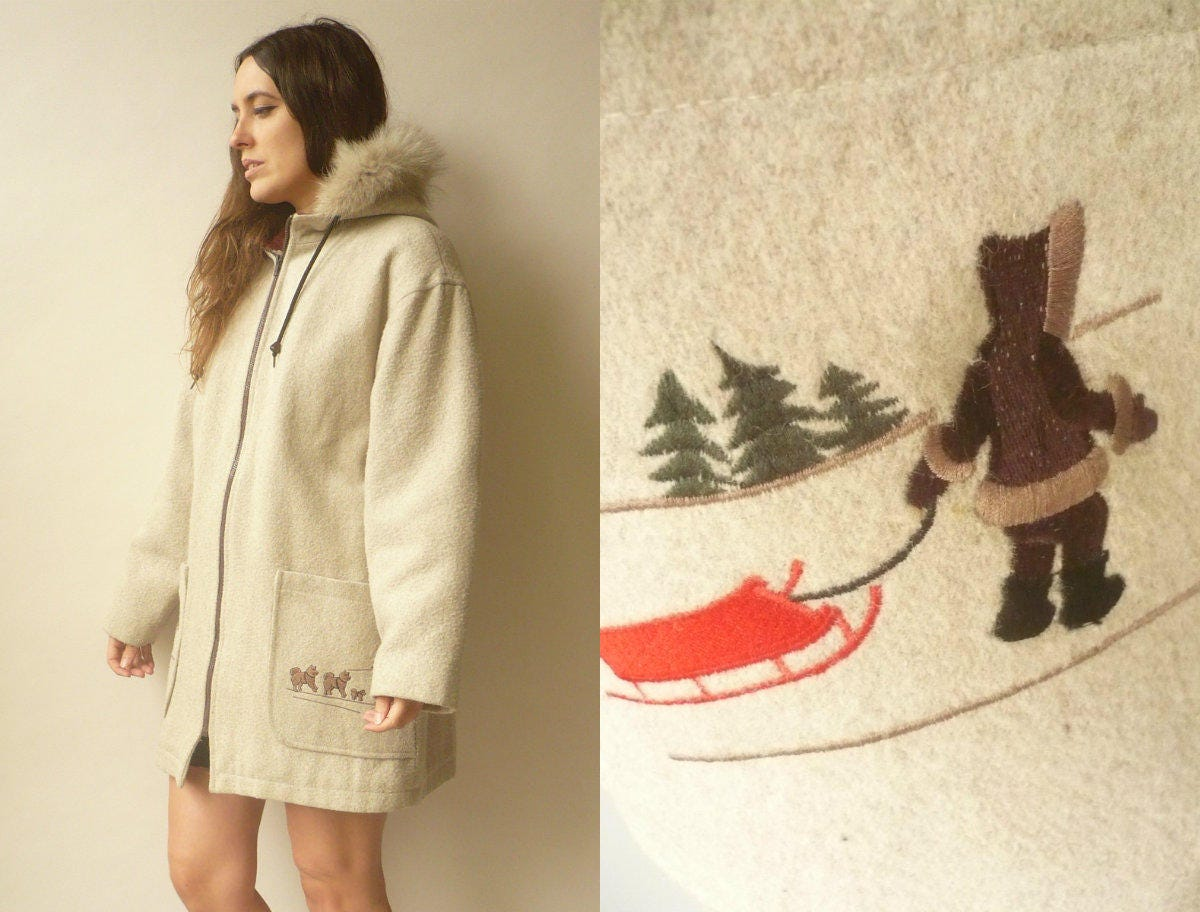 Vintage Canadian Wool Eskimo Parka Hooded Coat With Fur Trim  Embroidery Size Large