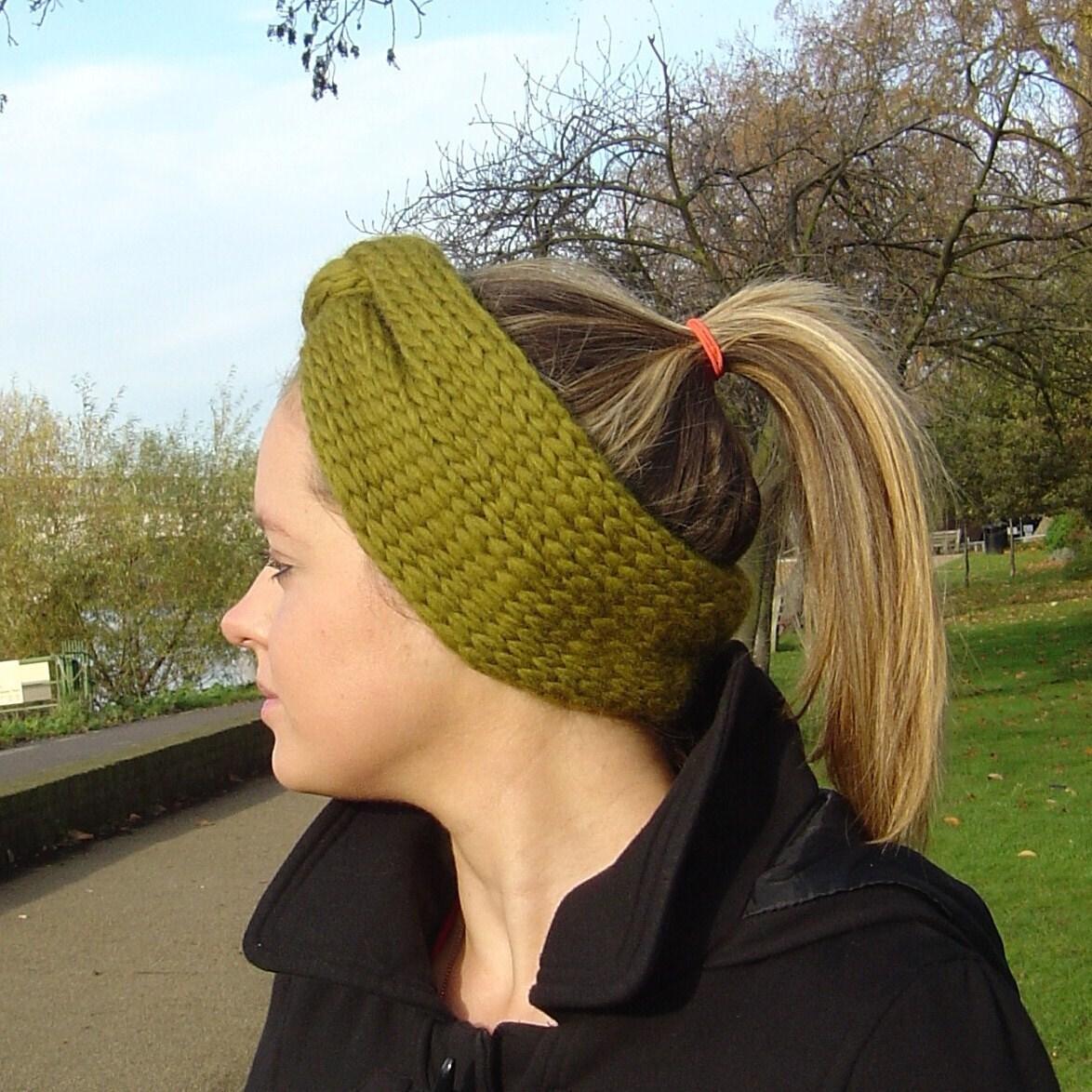 Knitting Patterns For Beginners Headband : Cinch Headband Earwarmer Beginners Knitting by ...