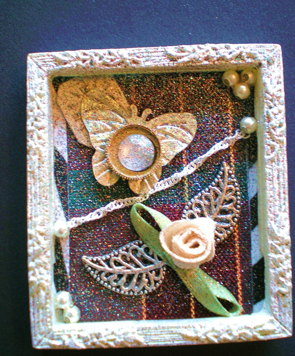 IMMEMORIAL  - Tiny Collage Mixed Media OOAK Framed Signed with Beads Flowers Silver Chain