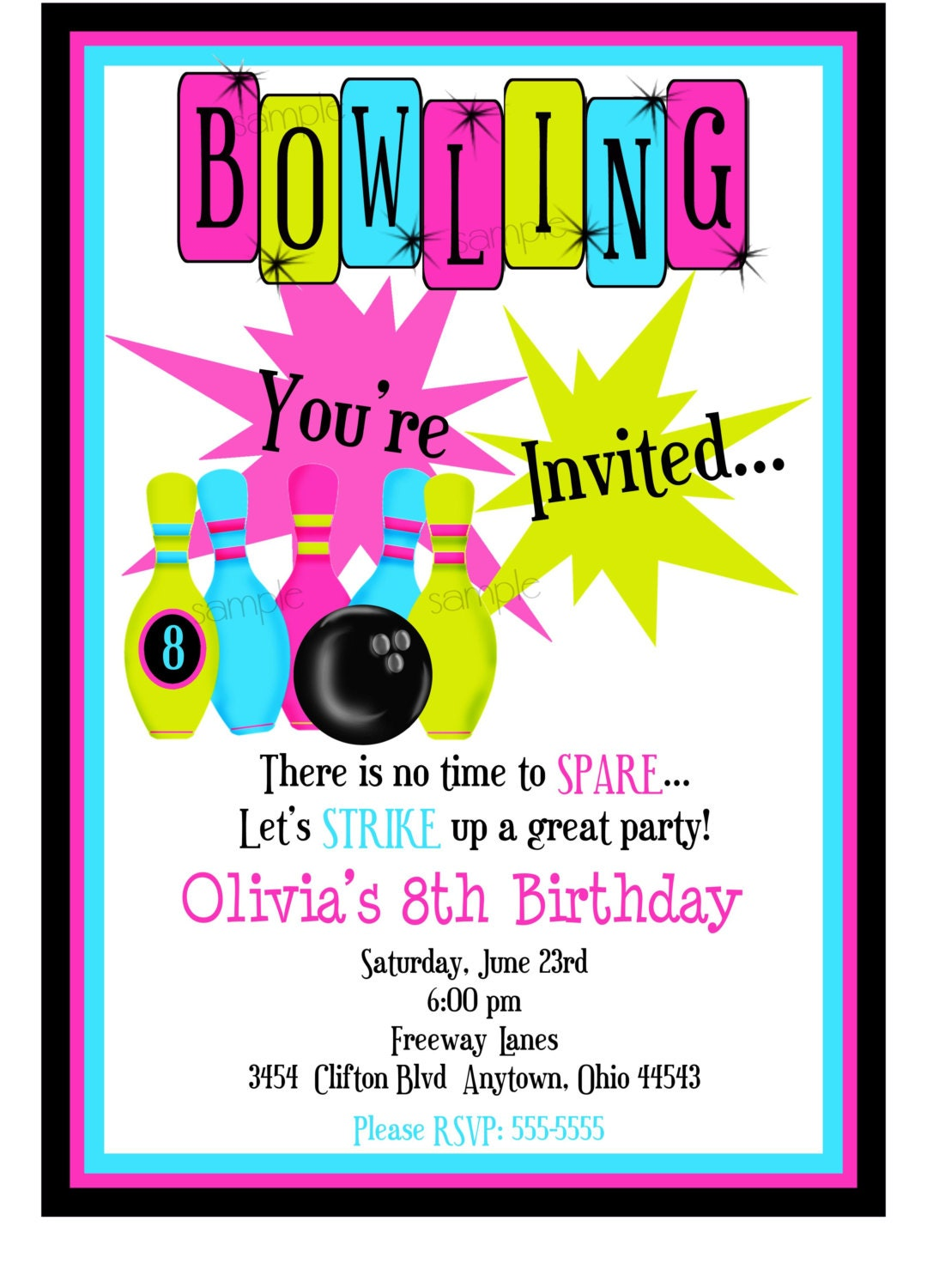 Bowling Invitations, Bowling Birthday Party, Cosmic ...