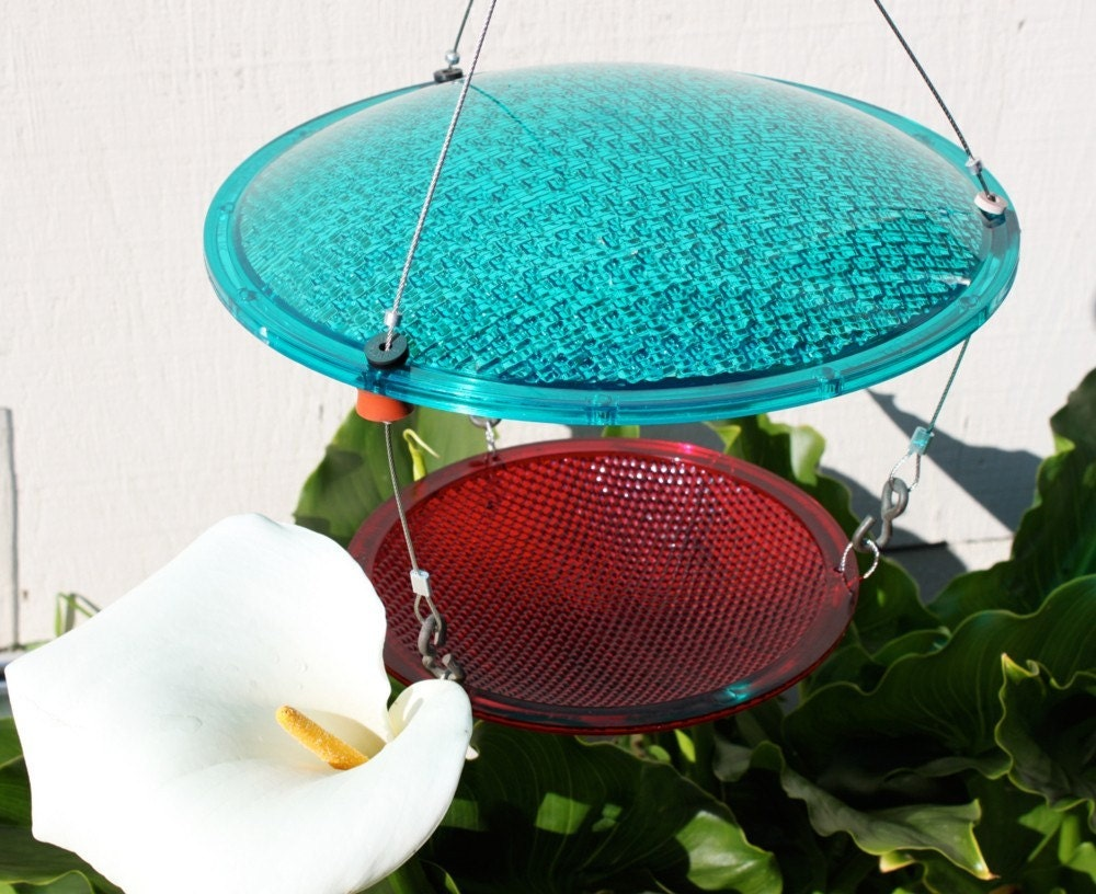 Bird Feeder. Re-purposed street lights. Eco-friendly recycled birdfeeder