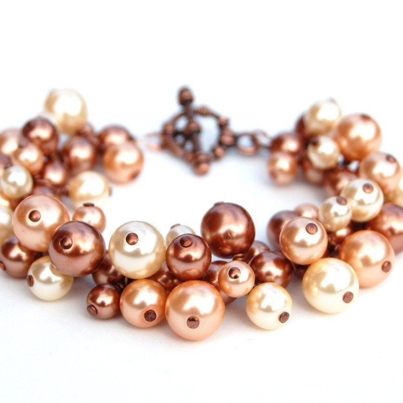Copper, Champagne and Ivory Pearl Cluster Bracelet