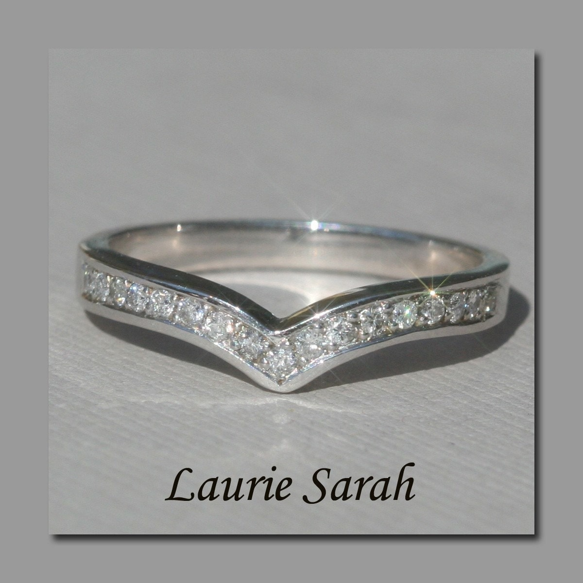 Contoured Curved Diamond Wedding Ring For By LaurieSarahDesigns