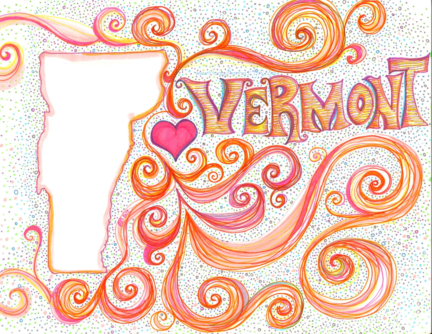 Vermont - I Love Vermont  - Drawing. Original Whimsical Work with Sharpies and Copic markers. Art from Allie Kelley