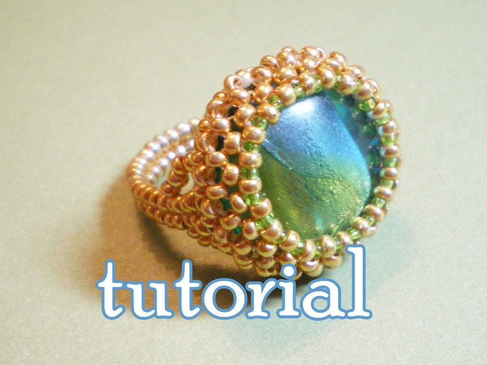 Items Similar To Green Fairy Beaded Cocktail Ring Pdf Tutorial On Etsy