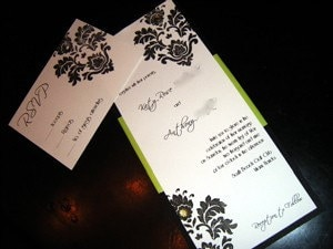 Lime Green Damask Invitation with Crystals