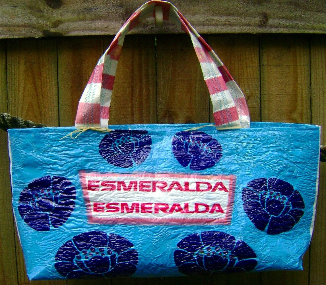 Esmeralda Tote made by fusing plastic bags
