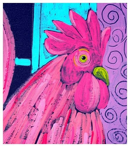 PINK ROOSTER PAINTING - orginal acrylic painting