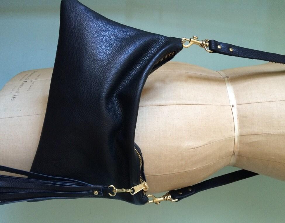 Black leather handbag simple black purse leather evening bag leather crossbody purse