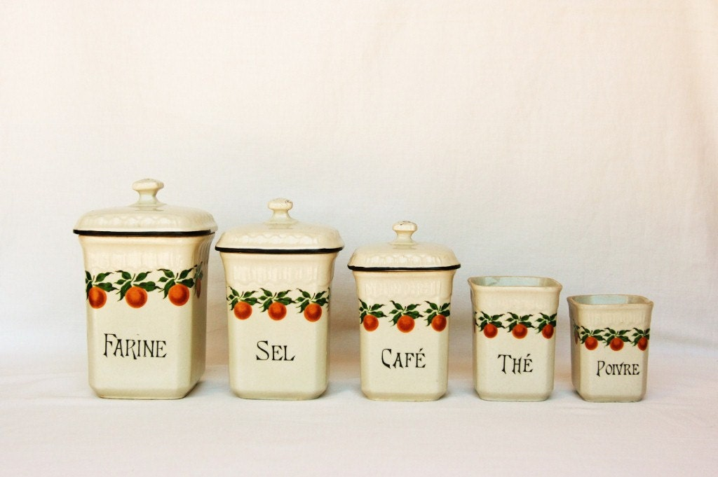 Items Similar To French Decor Canister Set Orange Kitchen