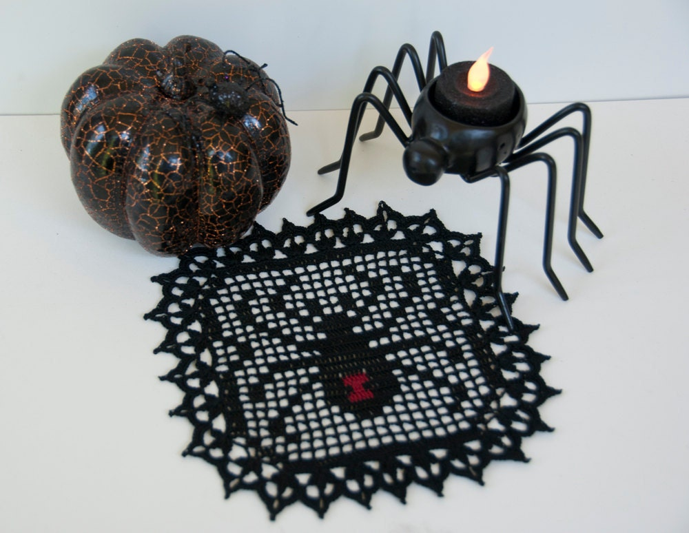 She won't bite, crocheted black widow spider, 7 inch square