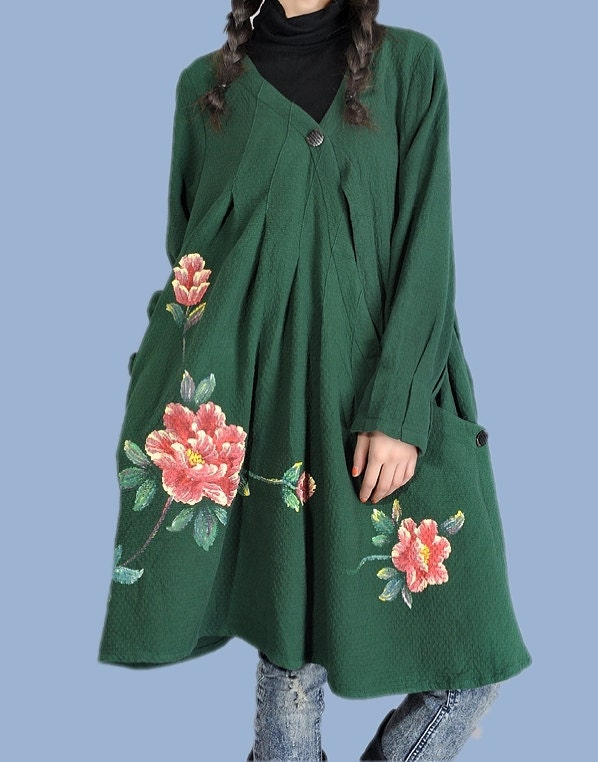 Hearts / dark green long sleeve blouse shirt