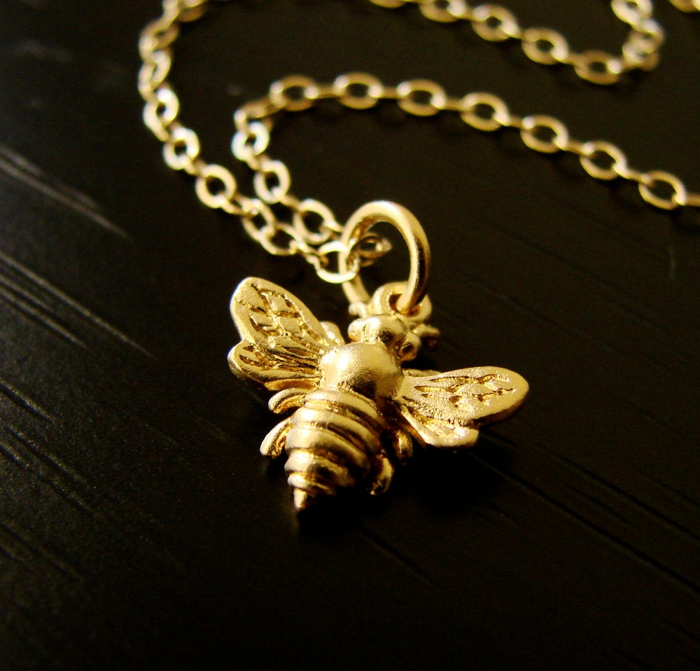 Honey Bee Necklace on Gold Vermeil and Gold Filled