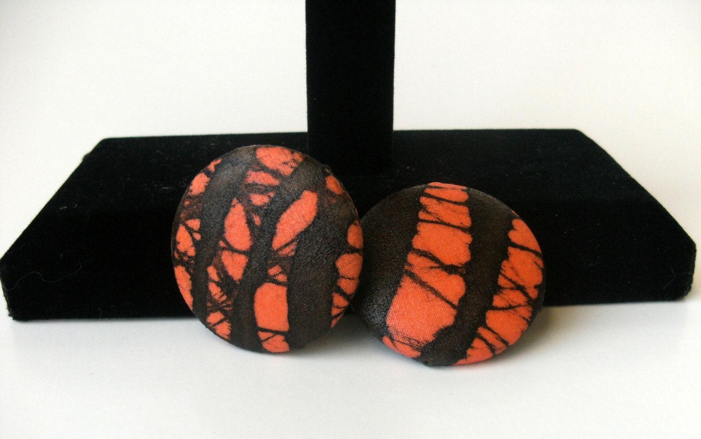orange and brown batik fabric print post earrings - earjeans