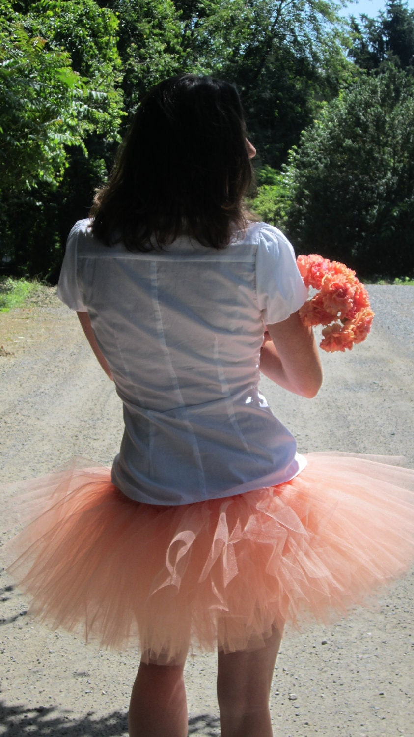 Adult Coral Tutu Skirt Peach Wedding Ladies Teen Bridesmaid Tutu Skirt Sewn by American Blossoms - AmericanBlossoms