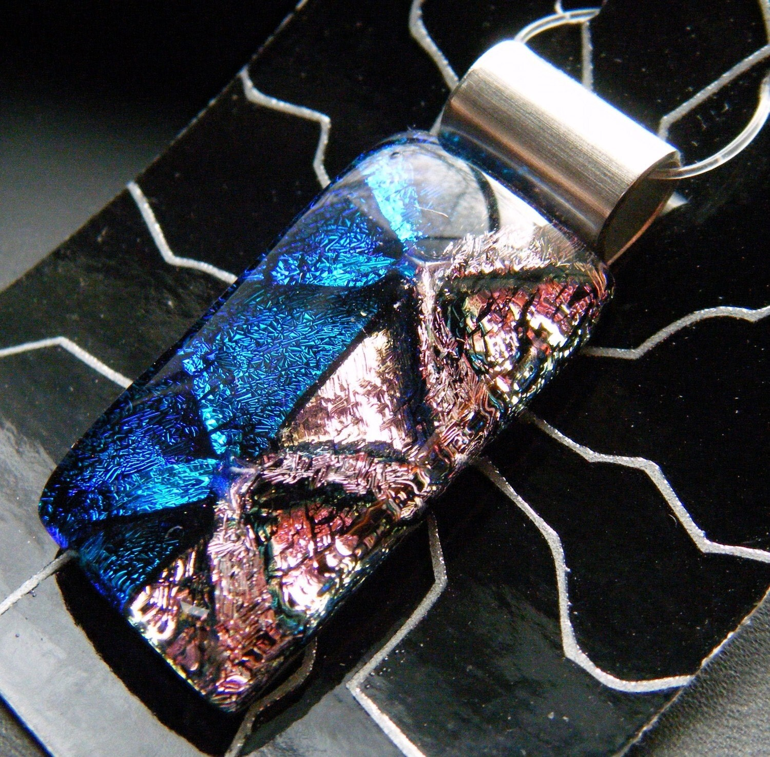 Valentines Day SALE Dichroic Ugly Glass Pendant (P8-433-02)