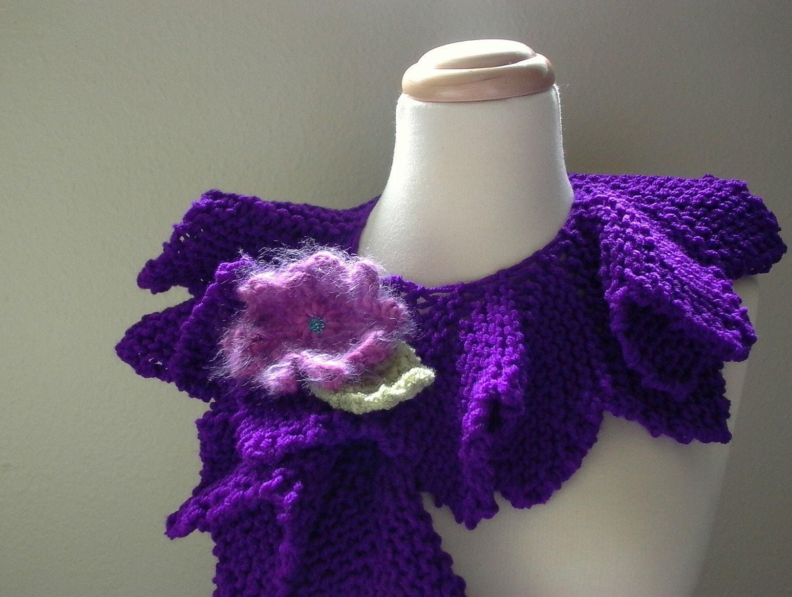 african violet . purple cowl . collar . scarflette