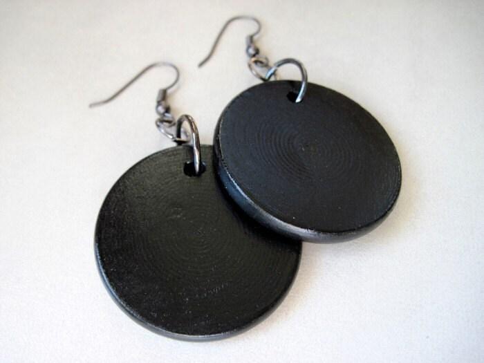 SALE Black Disc Earrings