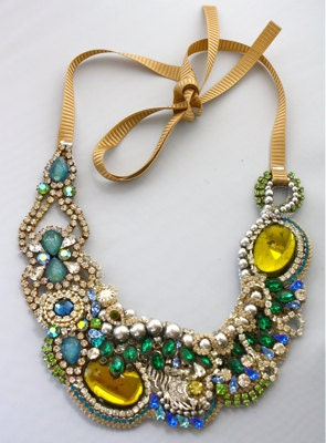 One of a Kind Art Deco Peacock Necklace (Reserved)