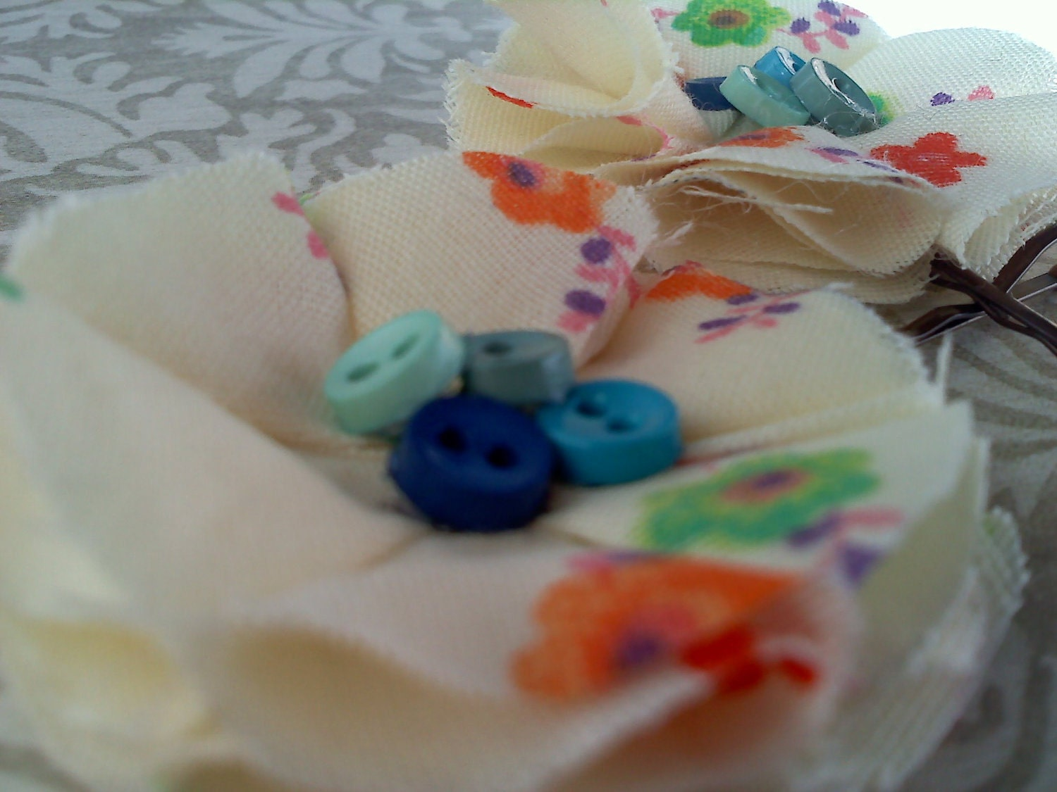 60's vintage floral print bobby pins with blue buttons