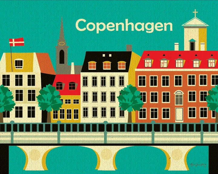 Copenhagen, Denmark Art Poster Print for Home, Office, and Nursery Rooms - style E8-O-COP - loosepetals