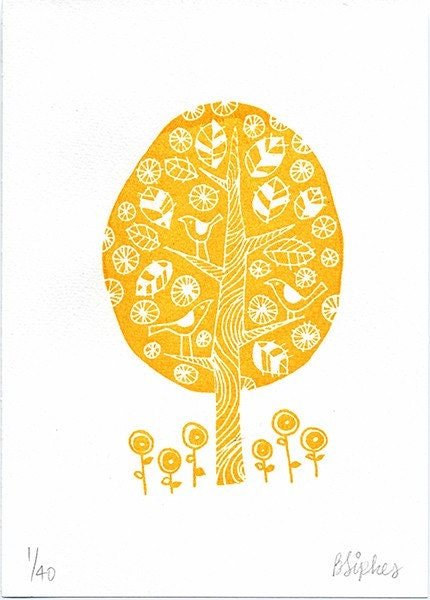 Spring Tree in Orange Original Art Gocco Serigraph Print in a Limited Edition of 40