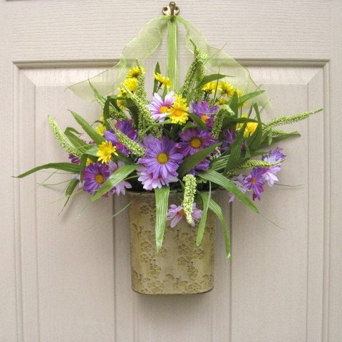 Spring wreath floral arrangement easter wreath by Spring flower arrangements for front door