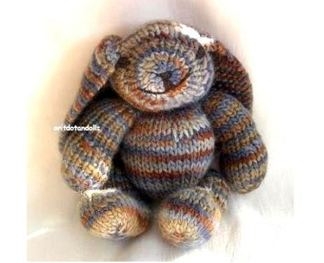 Hand knitted bunny, 11.5inch tall, handmade of wool yarn, stuffed with merino wool