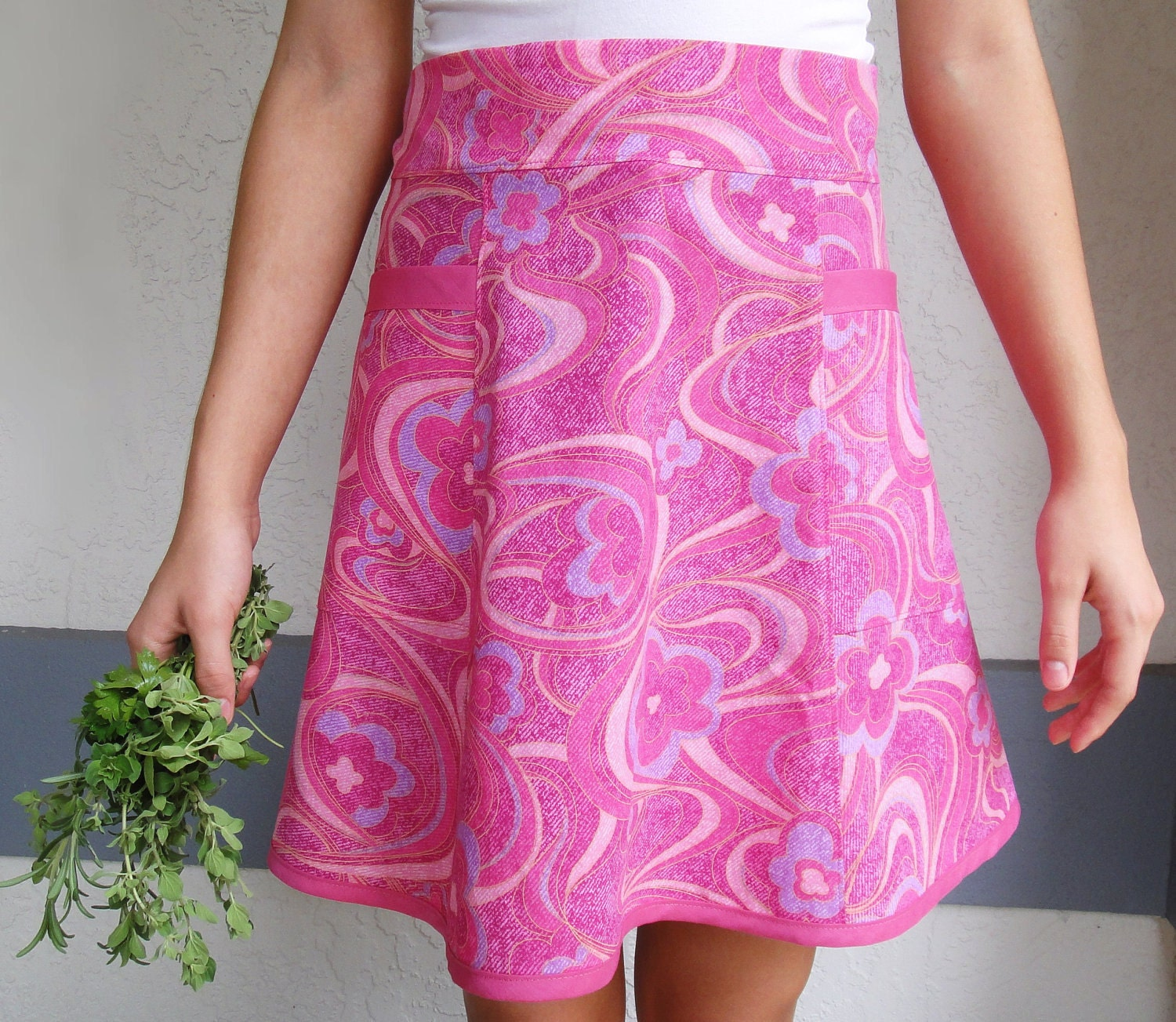 Pink Swirl 1960's Style Half Apron--Size S-M