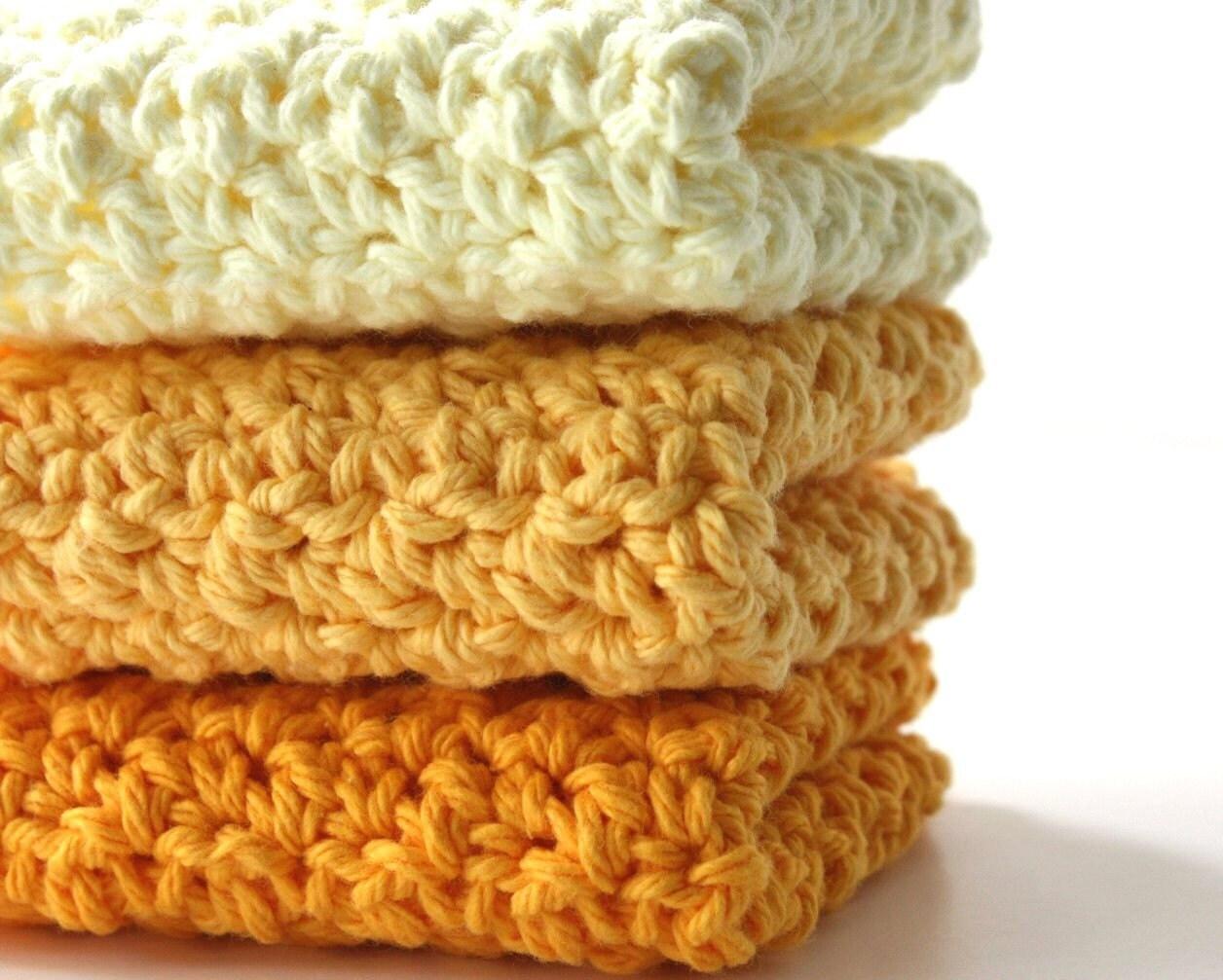 Crochet Cotton Dishcloths Sunshine Yellow