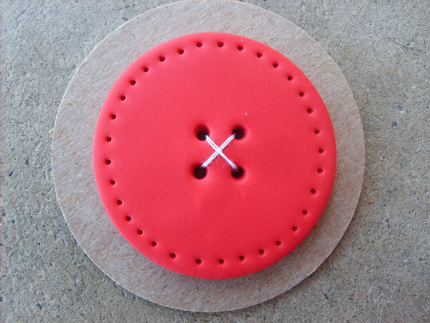 Jumbo Handmade Button--Red with dotted edge