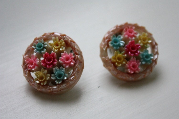 Carved Floral Clip-on Earrings