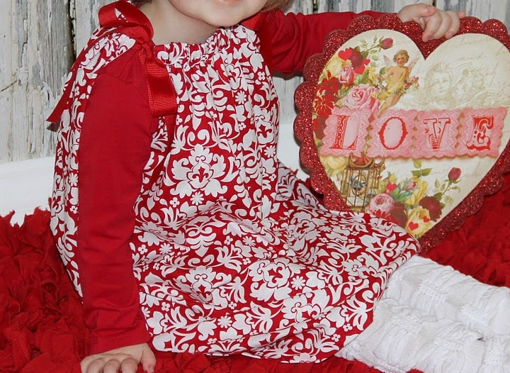 Valentines Day Pillowcase Dress DARLING DAMASK Red White baby toddler girl - lilsweetieboutique