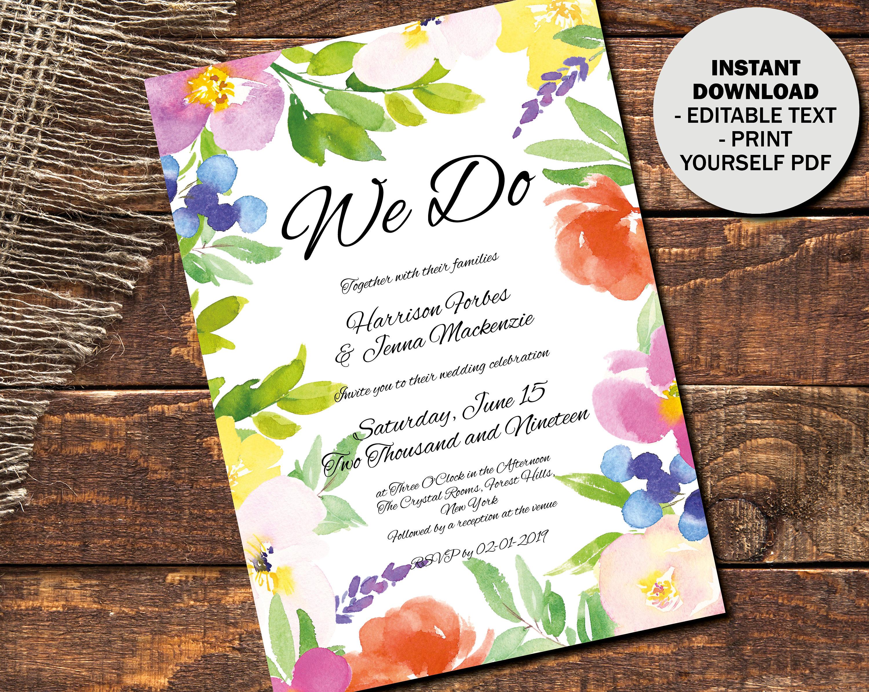 Editable Wedding Invitation Template Printable Invite Evening Reception Bohemian Boho Floral Watercolor PDF Invite Border 3 INV3