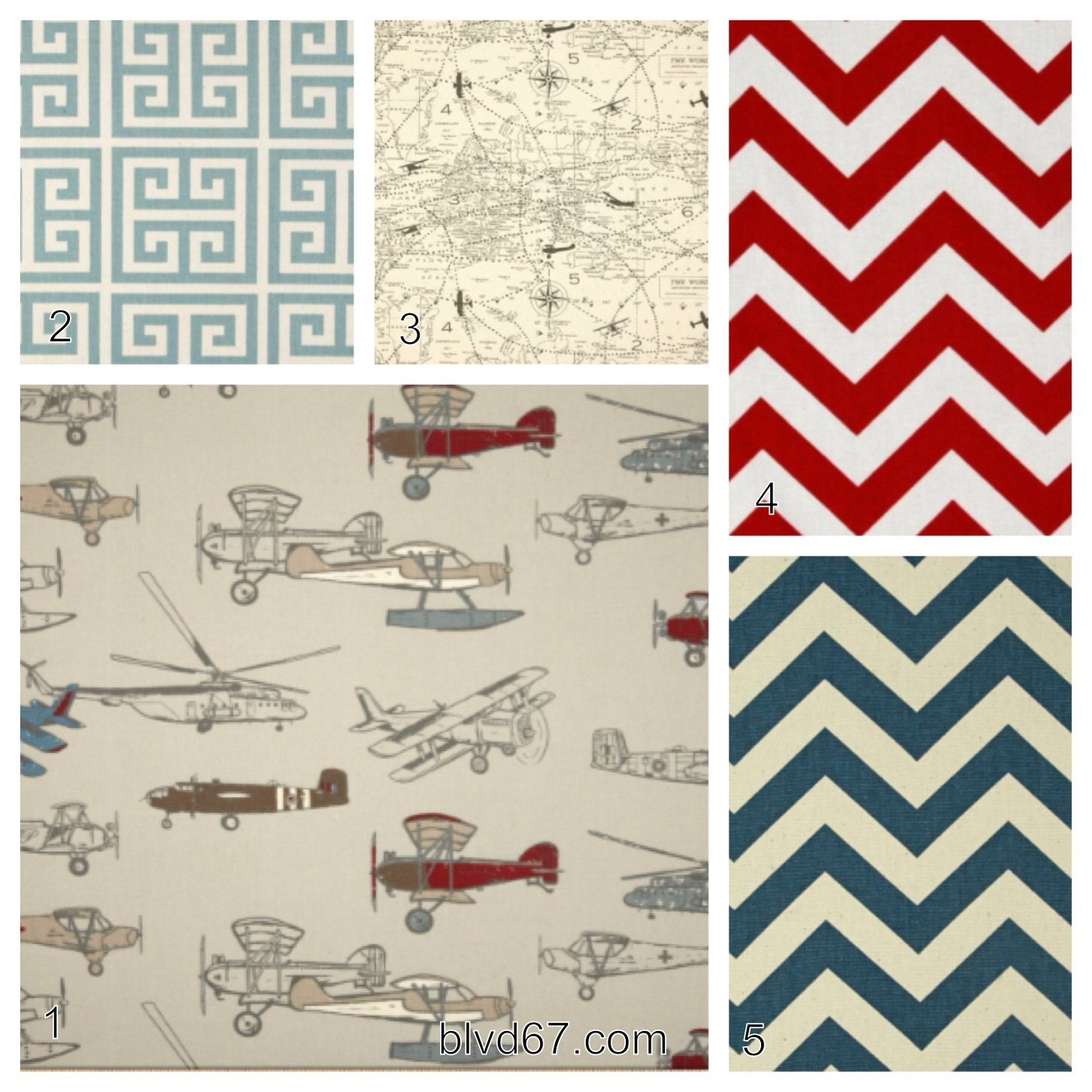 4 piece crib bedding set in vintage airplanes including colors red, denim, brown.