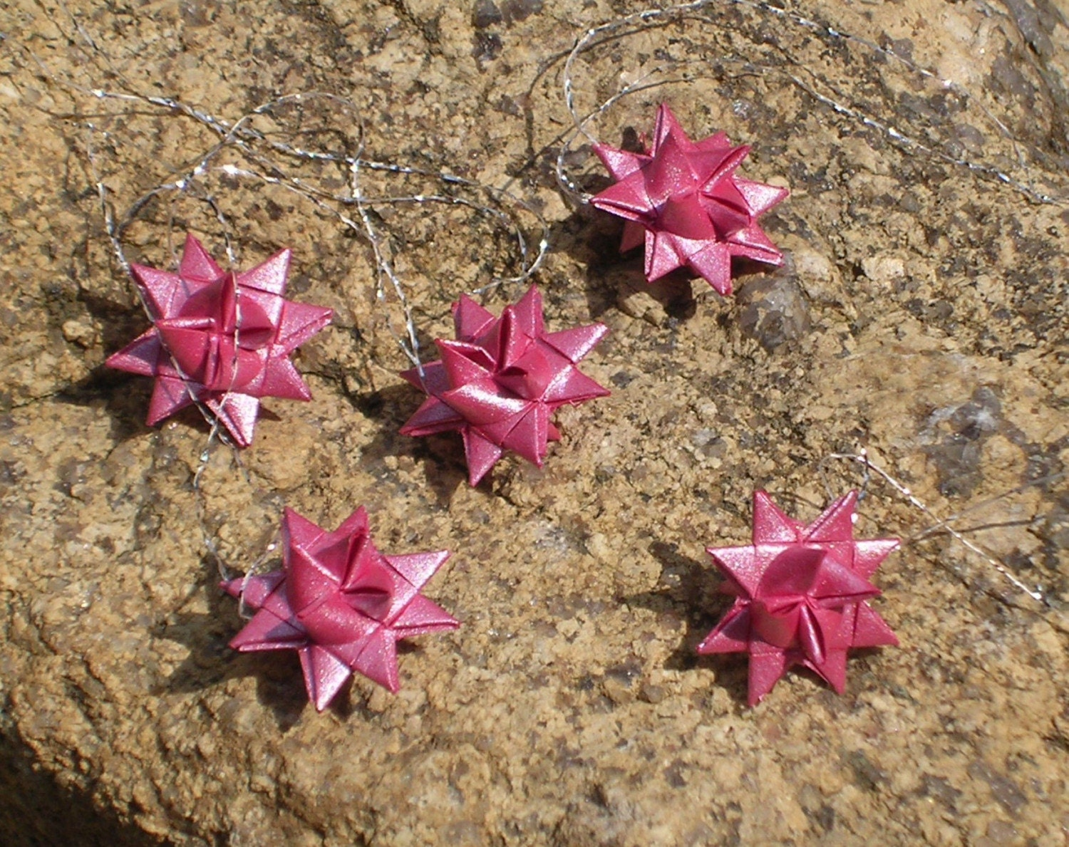 Tiny Red Moravian Folded Paper Stars