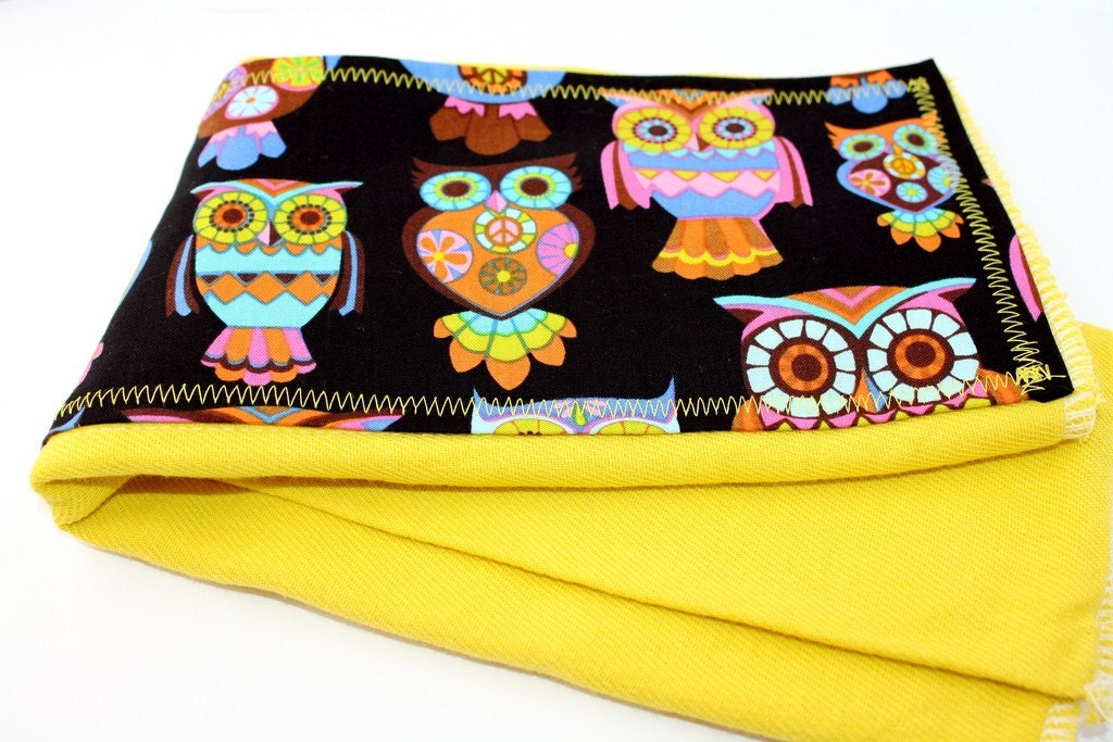 Colorful Owls hand dyed Orange Burp Cloth