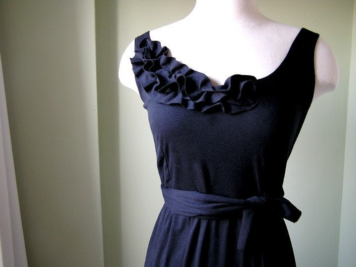 Sweet Black Dress with Vintage Fabric