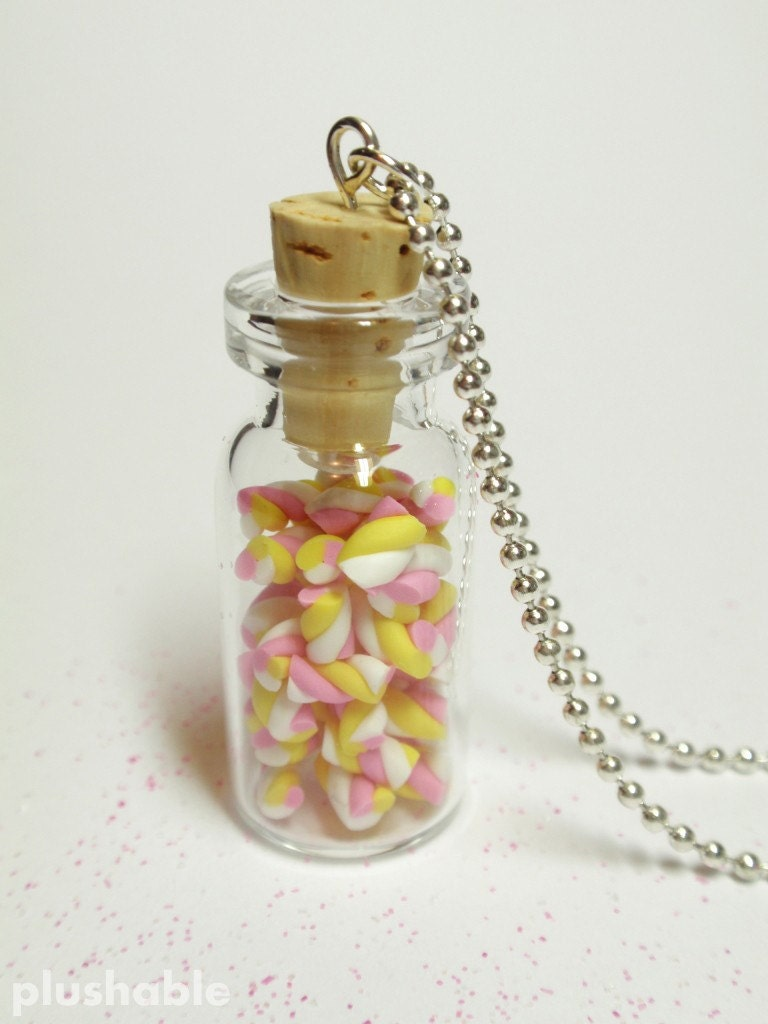 Sweet marshmallows in a bottle necklace