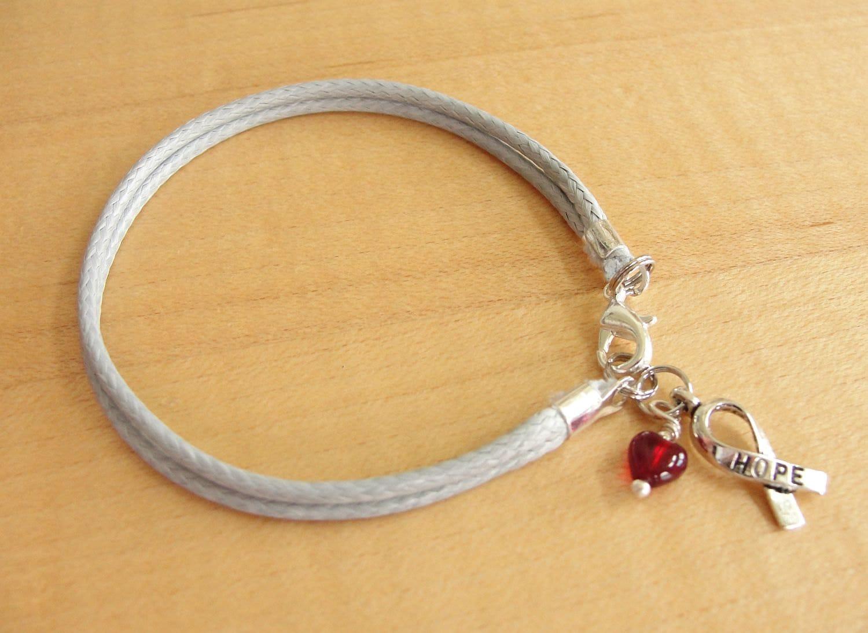 diabetes awareness bracelet anklet gray cotton by