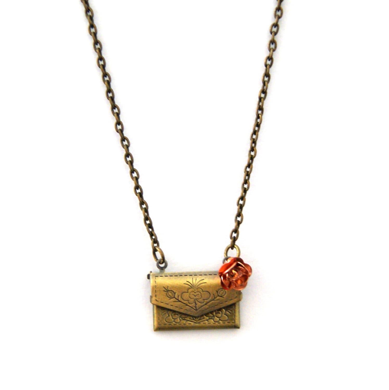 Envelope Necklace Antique Bronze Necklace Locket Necklace Copper Flower Opening Envelope Envelope Jewellery