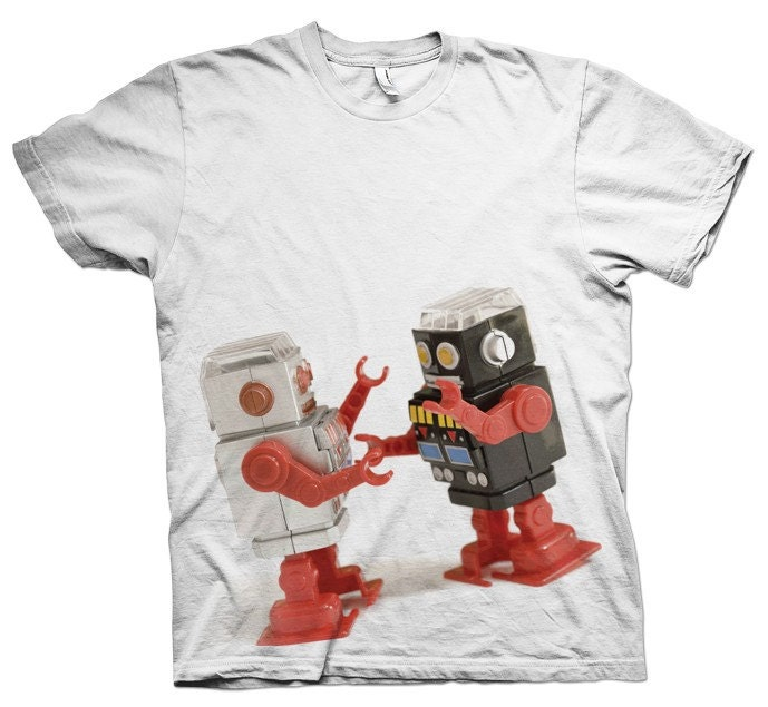 Fighting Robots White - Artsy Custom Screen Printed Shirt S,M,L,XL