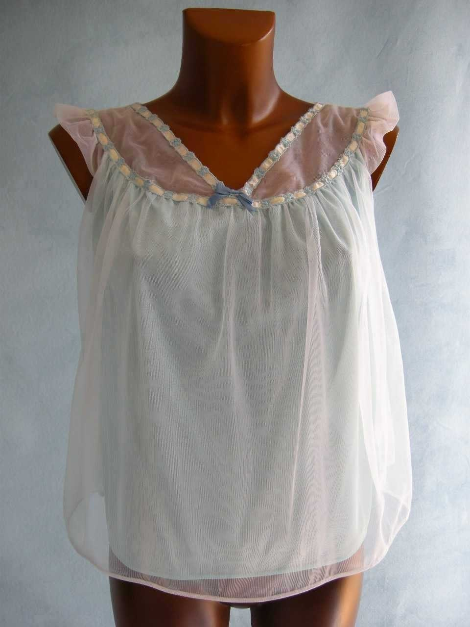 ULTRA SHORT Vintage 50s Blue Chiffon Babydoll S M by empressjade on Etsy