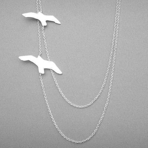 silver birds in flight necklace